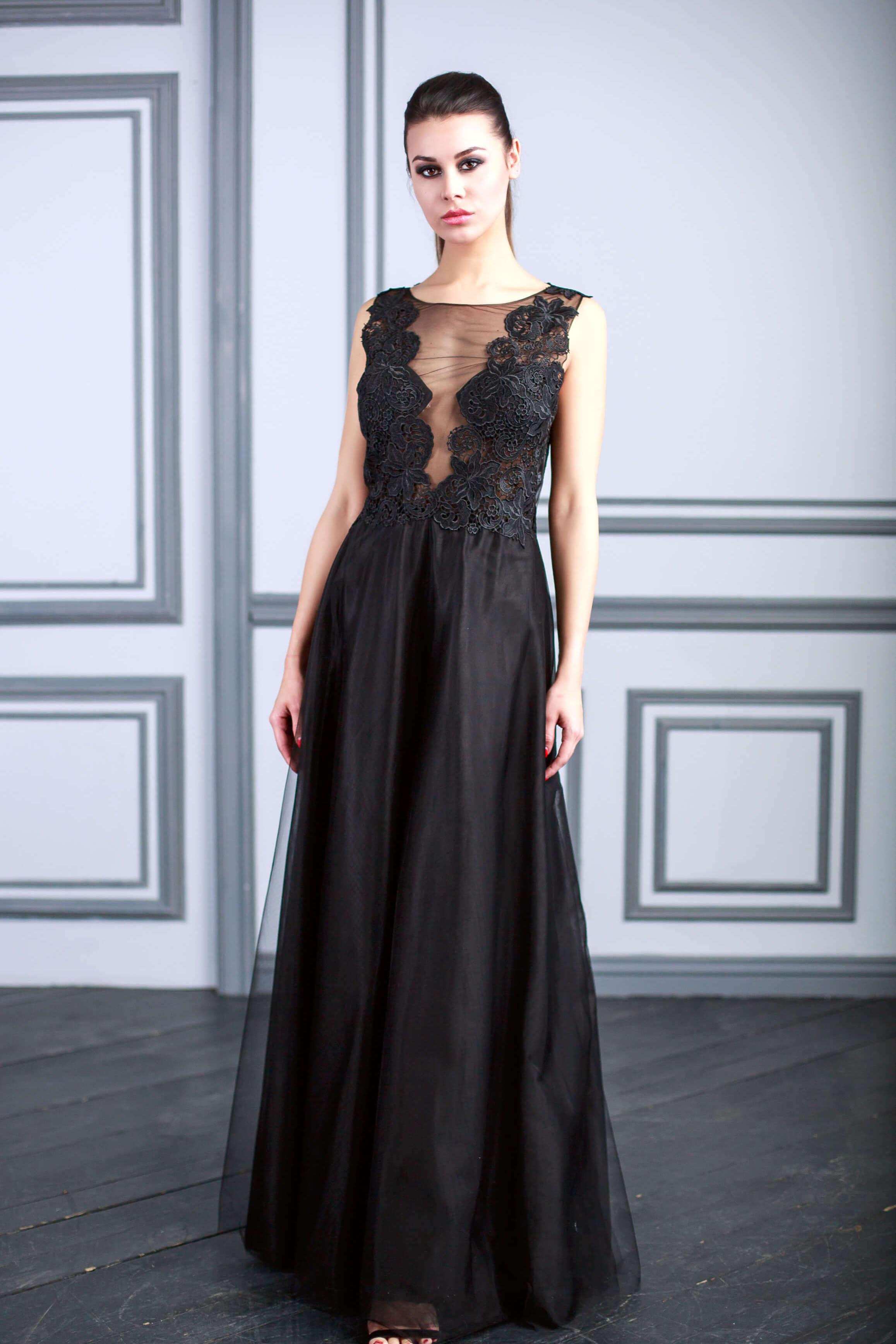 aeaf5b5d2fc Вечернее черное платье купить в Москве — в салоне Valentina Polli!